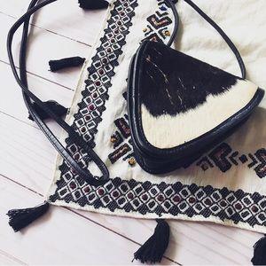 VINTAGE real leather cow fur triangular mini bag